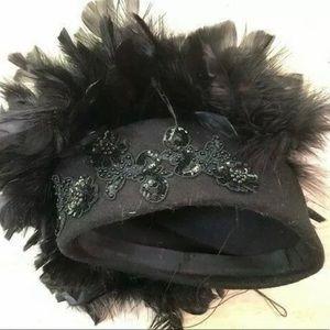 Elegant Women's Black Wool Hat with Black Feathers